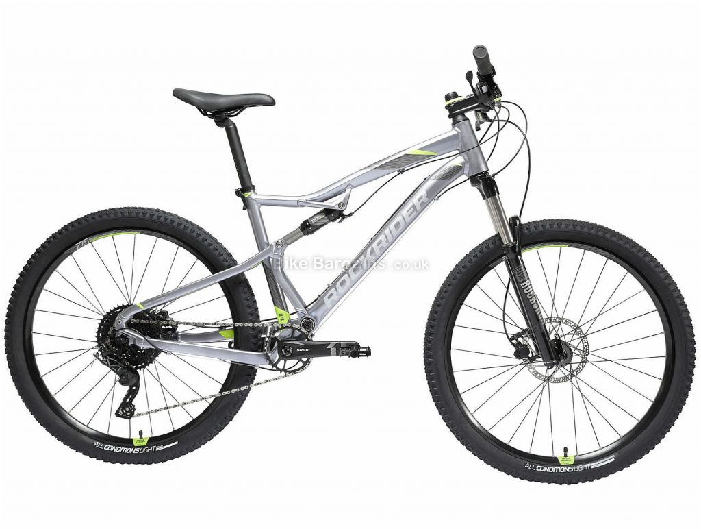 "B'twin Rockrider 27.5"" ST 900 S Alloy Full Suspension Mountain Bike M,XL, Grey, Black, Alloy Frame, 27.5"" Wheels, 13.95kg, 11 Speed, Disc Brakes, Single Chainring"