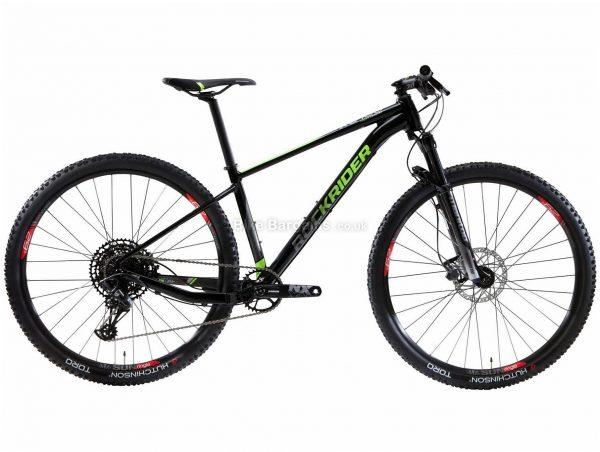 "B'twin Rockrider 29"" 12-Speed XC 100 Alloy Hardtail Mountain Bike M, Black, Green, Alloy Frame, 29"" Wheels, 11.9kg, 12 Speed, Disc Brakes, Single Chainring"