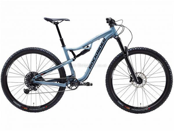 "B'twin Rockrider 29"" All Mountain AM 100 S Alloy Full Suspension Mountain Bike S, Blue, Black, Alloy Frame, 29"" Wheels, 14.3kg, 12 Speed, Disc Brakes, Single Chainring"