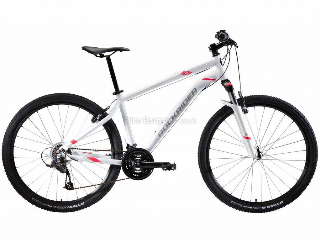 "B'twin Rockrider Ladies ST 100 27.5"" Hardtail Mountain Bike XL, White, Alloy Frame, 27.5"" Wheels, 15.3kg, 21 Speed, Caliper Brakes, Triple Chainring"