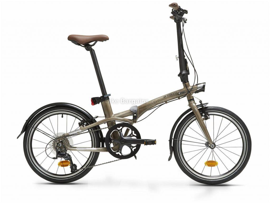"B'twin Tilt 900 Alloy Folding City Bike M, Brown, Green, Alloy Frame, 20"" Wheels, 12.2kg, 9 Speed, Caliper Brakes, Single Chainring"