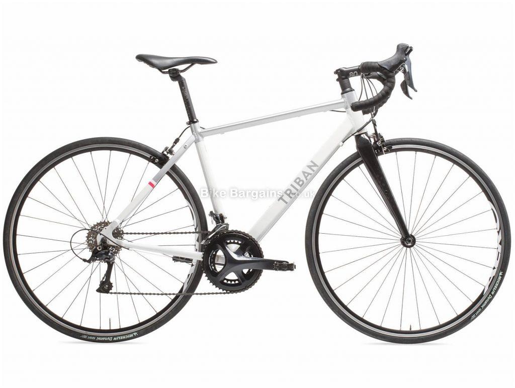 B'twin Triban Ladies Intermediate Sora Alloy Road Bike S, White, Black, Alloy Frame, 700c Wheels, 9.95kg, 18 Speed, Caliper Brakes, Double Chainring