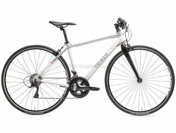 B'twin Triban Ladies Intermediate Sora Flat Bar Alloy Road Bike S, White, Black, Alloy Frame, 700c Wheels, 9.76kg, 18 Speed, Caliper Brakes, Double Chainring