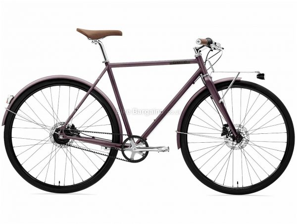 Creme Ristretto Speedstar Steel Urban City Bike 2020 M, Purple, Steel frame, 7 Speed, 700c wheels, 14kg, Disc Brakes, Single Chainring, Rigid Frame