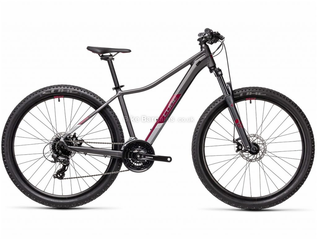 "Cube Access WS Ladies Alloy Hardtail Mountain Bike 2021 13"", Grey, Purple, Alloy Frame, 27.5"" or 29"" wheels, 24 Speed, Disc Brakes, Triple Chainring, Hardtail, Suspension, 14.6kg"