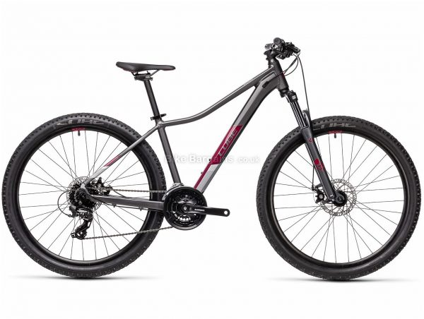 """Cube Access WS Ladies Alloy Hardtail Mountain Bike 2021 17"""", Grey, Purple, Alloy Frame, 27.5"""" or 29"""" wheels, 24 Speed, Disc Brakes, Triple Chainring, Hardtail, Suspension, 14.6kg"""