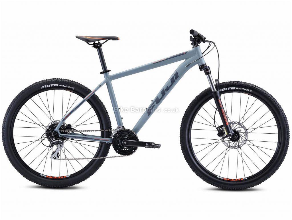 "Fuji Nevada 27.5 1.7 Alloy Hardtail Mountain Bike 2021 15"",17"",19"", Grey, Alloy Frame, 27.5"" Wheels, Disc Brakes, 24 Speed, Triple Chainring, Hardtail, Suspension Forks"