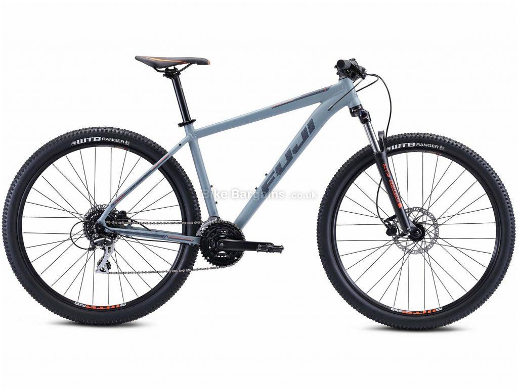 "Fuji Nevada 29 1.7 Alloy Hardtail Mountain Bike 2021 17"",19"",21"", Grey, Alloy Frame, 29"" Wheels, Disc Brakes, 24 Speed, Triple Chainring, Hardtail, Suspension Forks"