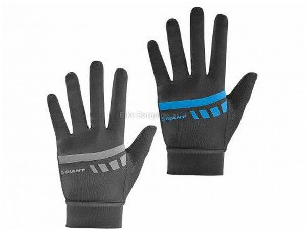 Giant Podium Gel Full Finger Gloves S, Black, Blue, Grey, Full Finger, Leather, Gel