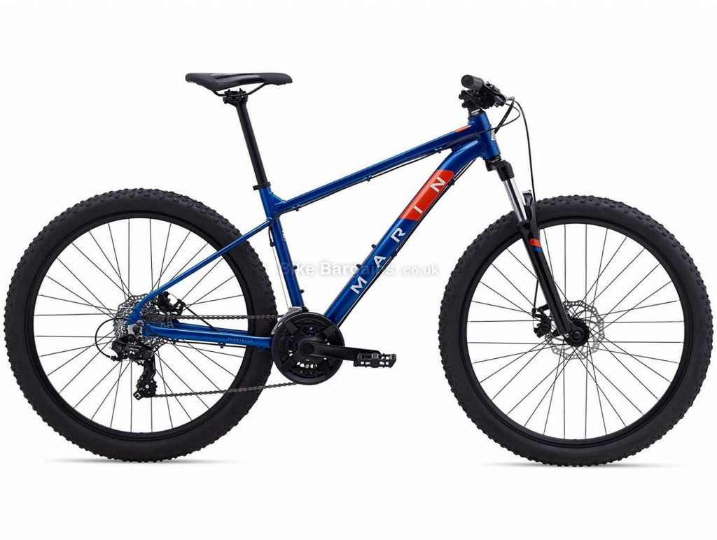 "Marin Bolinas Ridge 1 27.5"" Alloy Hardtail Mountain Bike 2021 XS,S,M,L,XL, Blue, Grey, Alloy Frame, 27.5"" or 29"" Wheels, 21 Speed, Disc Brakes, Hardtail Frame, Front Suspension, Triple Chainring"