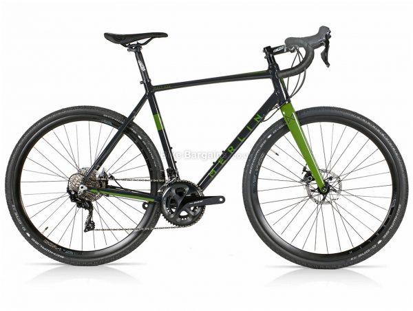 Merlin Malt G2X 105 Alloy Gravel Bike 2021 56cm, Black, Green, Men's, Alloy Frame, Disc Brakes, 22 Speed, Double Chainring, 700c