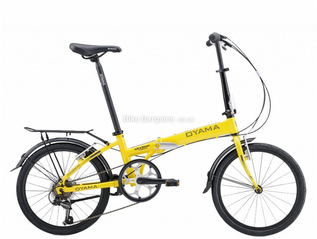 "Oyama Skyline M300 Alloy Folding City Bike M, Yellow, White, Black, Alloy Frame, 20"" Wheels, 6 Speed, Caliper Brakes, Rigid Frame, Single Chainring"