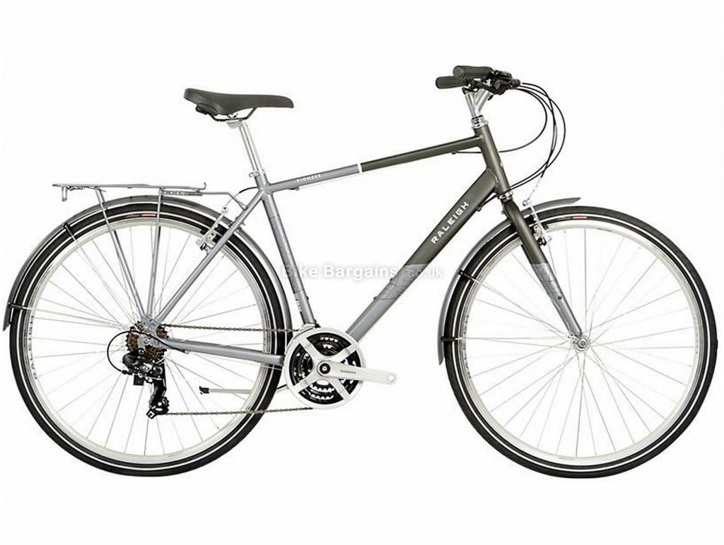 "Raleigh Pioneer Alloy City Bike 2021 21"", Grey, Silver, Alloy Frame, 700c Wheels, Caliper Brakes, 21 Speed, Triple Chainring"