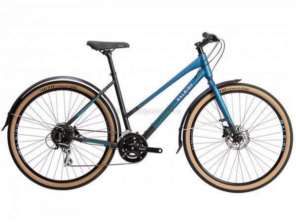 "Raleigh Strada City Open Frame Ladies Alloy City Bike 2021 S,M,L, Black, Blue, Alloy frame, 16 Speed, 27.5"" wheels, 12kg, Disc Brakes, Double Chainring, Rigid Frame"