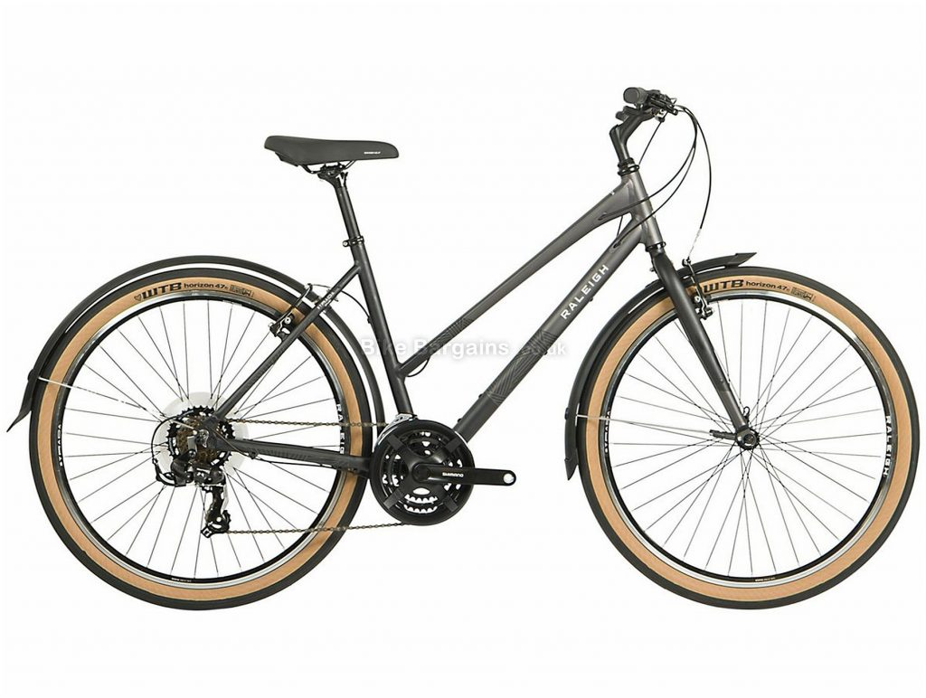 "Raleigh Strada Ladies 27.5"" Alloy City Bike 2021 14"",17"",19"",21"", Grey, Alloy Frame, 27.5"" wheels, 21 Speed, Caliper Brakes, Triple Chainring, Rigid"