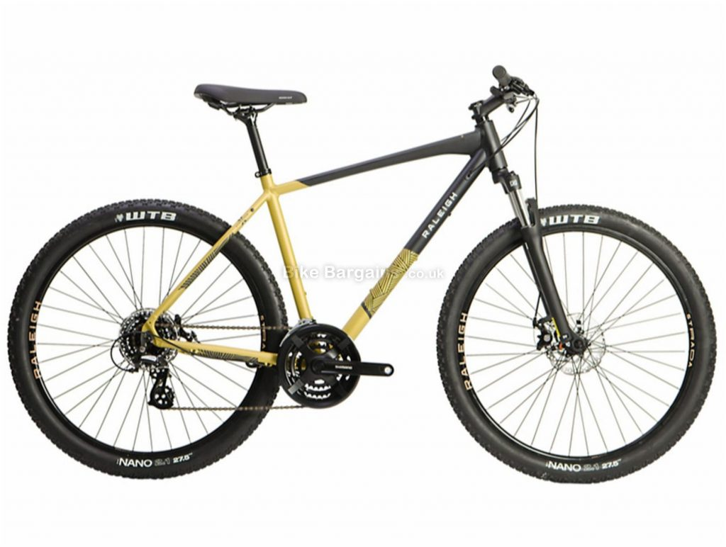 "Raleigh Strada X Trail Alloy Hardtail Hybrid Mountain Bike 2021 S,M,L,XL, Black, Yellow, Alloy frame, 21 Speed, 27.5"" wheels, 14kg, Disc Brakes, Triple Chainring, Hardtail Frame, Suspension Fork"