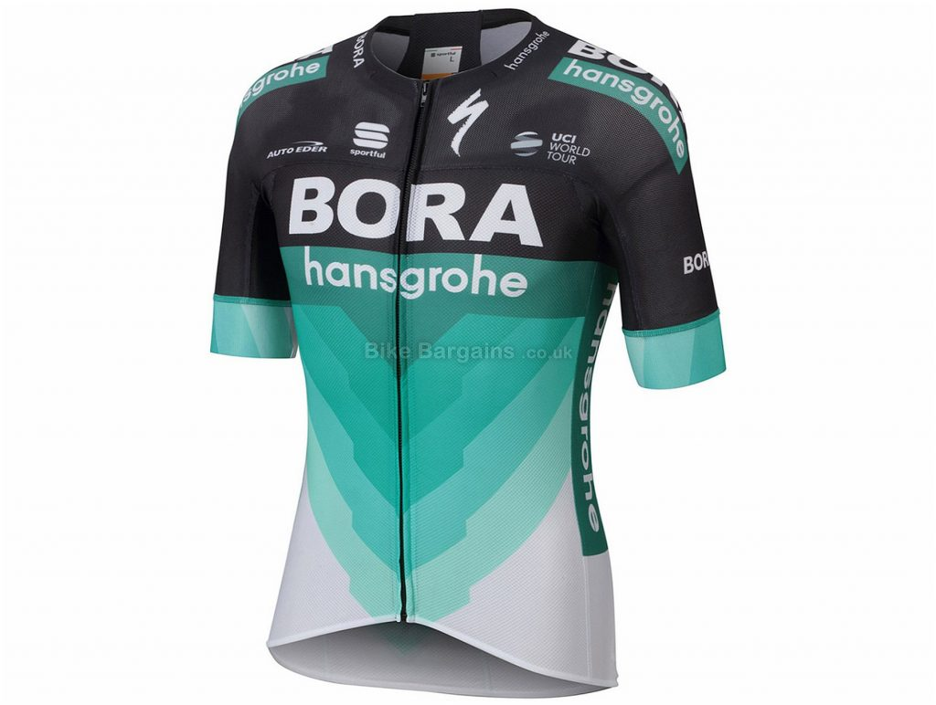 Sportful Bora Hansgrohe Bodyfit Pro Light Short Sleeve Jersey XXL, Black, Green, Men's, Short Sleeve, 113g, Polyester, Elastane