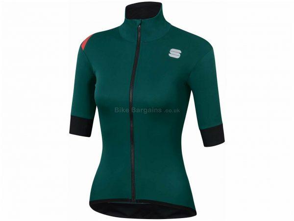 Sportful Fiandre Light NoRain Ladies Short Sleeve Jacket XS,L,XL,XXL, Orange, Green, Ladies, Short Sleeve, Polyester, Elastane
