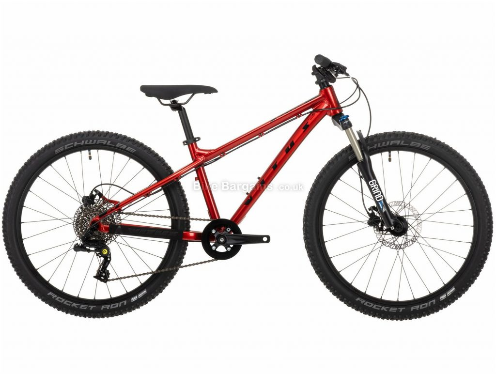 """Vitus Nucleus 24 Youth Alloy Hardtail Mountain Bike 2021 One Size, Red, Alloy Frame, 24"""" Wheels, Disc Brakes, 8 Speed, Single Chainring, 11.01kg"""