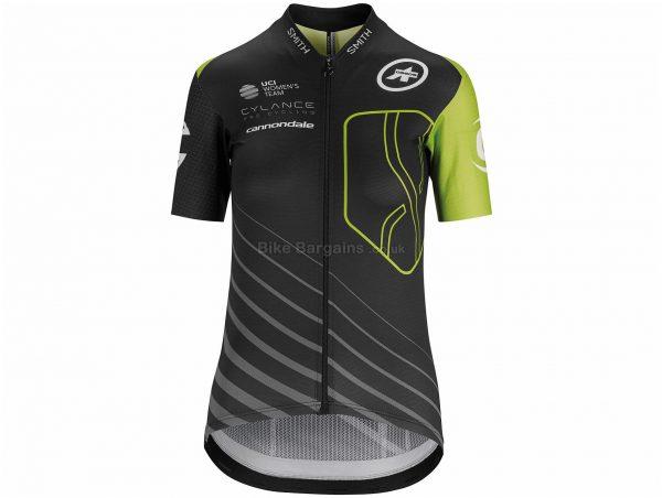 Assos Cylance Aero Short Sleeve Jersey XXS,XS,S, Black, Green, Men's, Short Sleeve, Zip Closure, 3 rear pockets, Polyester, Polyamide, Elastane
