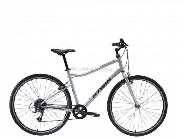 B'Twin Riverside 120 Steel City Bike S,M,L, Silver, Steel Frame, 8 Speed, 700c Wheels, 14.6kg, Caliper Brakes, Single Chainring