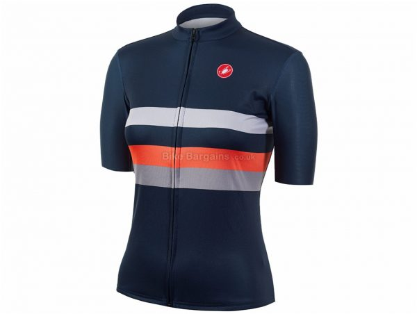 Castelli Ladies Movimento Limited Edition Short Sleeve Jersey XL, Silver, Orange, Blue, Ladies, Short Sleeve, Polyester
