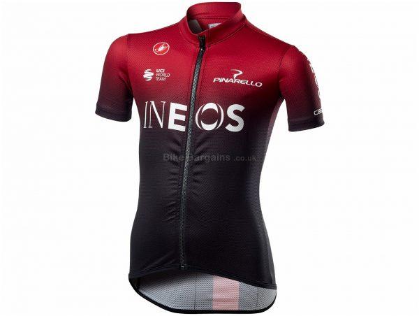 Castelli Team Ineos Kid's Short Sleeve Jersey 6, Red, Black, Kids, Short Sleeve, 89g, Polyester