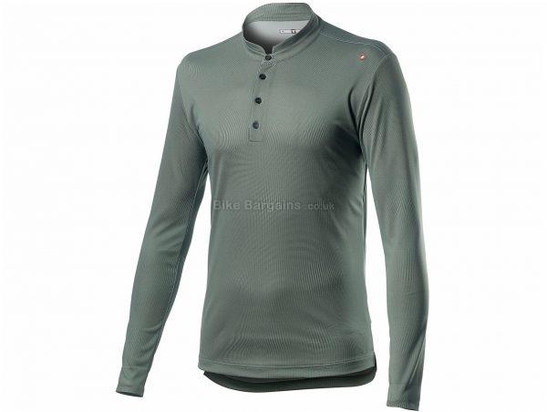 Castelli Tech Henley Long Sleeve T-Shirt XS,M,L,XL,XXL,XXXL, Grey, Men's, Long Sleeve, Polyester