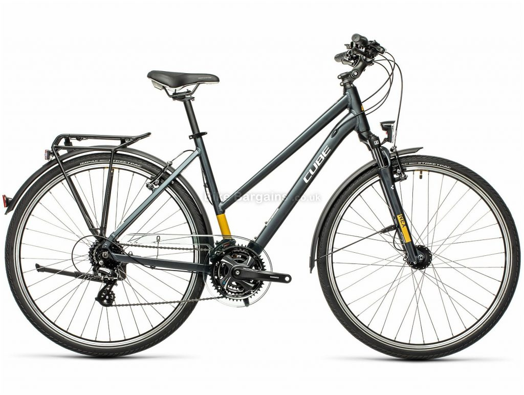 Cube Touring Trapeze Alloy Ladies City Bike 2021 50cm, Grey, Yellow, Alloy Frame, 24 Speed, 700c Wheels, Caliper Brakes, Alivio Drivetrain, Triple Chainring, 16.5kg