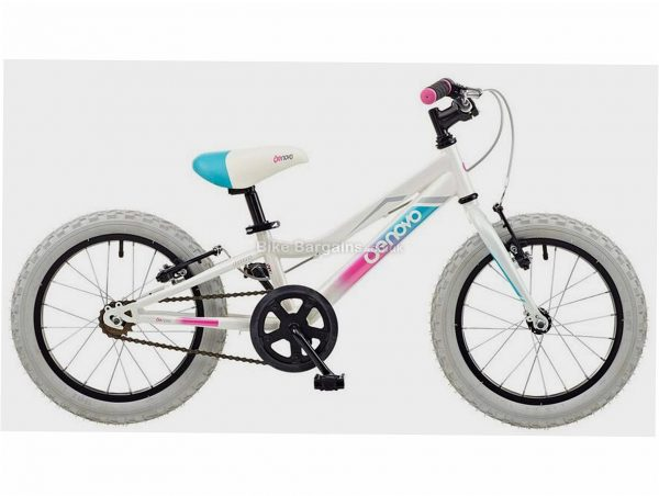 "Denovo Girls 16"" Steel Kids Bike M, White, Turquoise, Pink, Steel Frame, Single Speed, 16"" Wheels, 9.3kg, Caliper Brakes, Single Chainring"