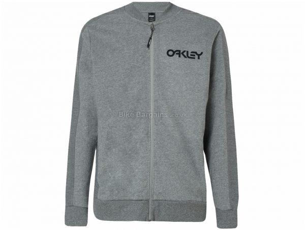 Oakley Full Zip Reverse Bomber XXL, Grey, Men's, Long Sleeve, Zip Closure, Cotton