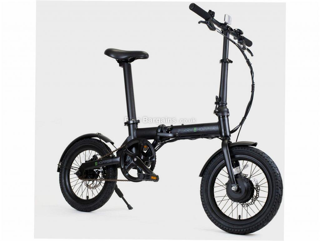 "Perry Ehopper 16"" Folding Alloy Electric Bike M, Black, Alloy Frame, Single Speed, 16"" Wheels, 14kg, Disc, Single Chainring"