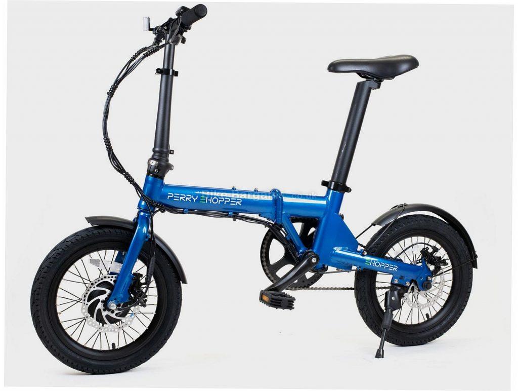 "Perry Ehopper 16"" Folding Alloy Electric Bike M, Blue, Black, Alloy Frame, Single Speed, 16"" Wheels, 14kg, Disc, Single Chainring"