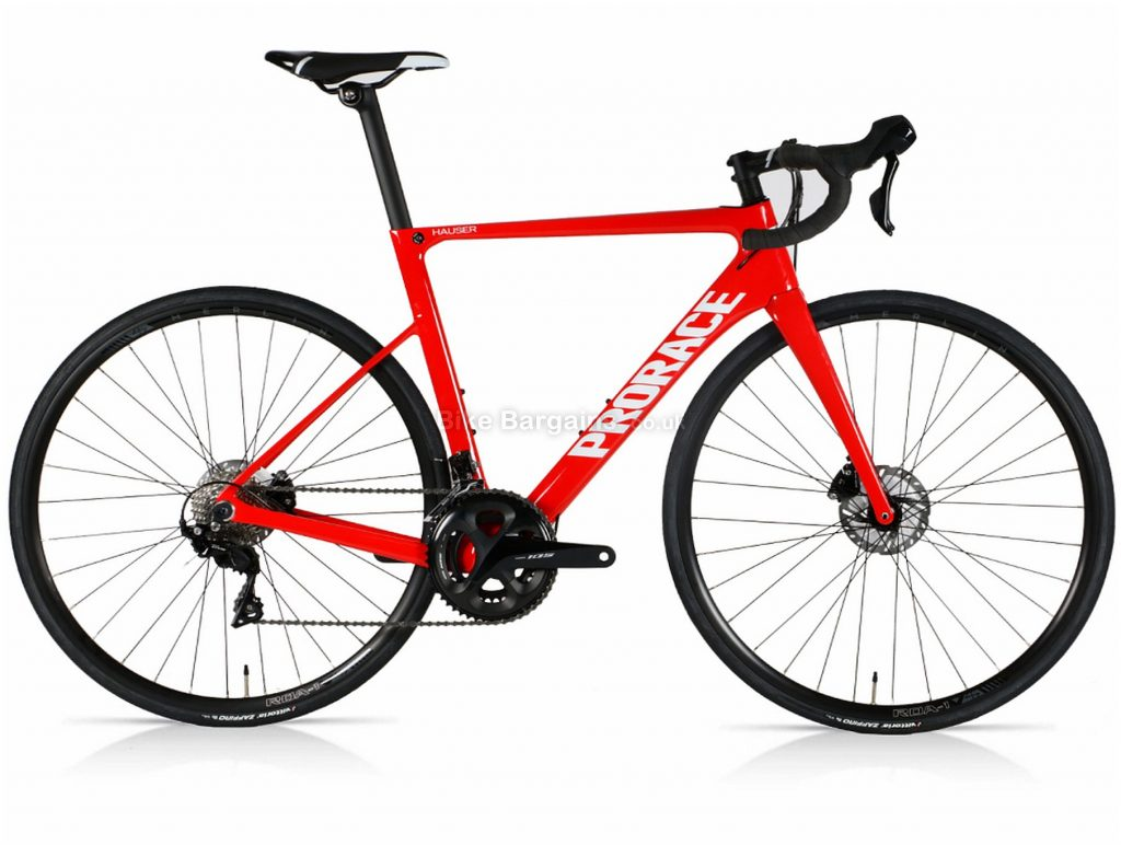 Prorace Hauser Disc 105 Carbon Road Bike M, Red, Carbon Frame, Men's, 700c wheels, 105 Groupset, Disc Brakes, 22 Speed, Double Chainring