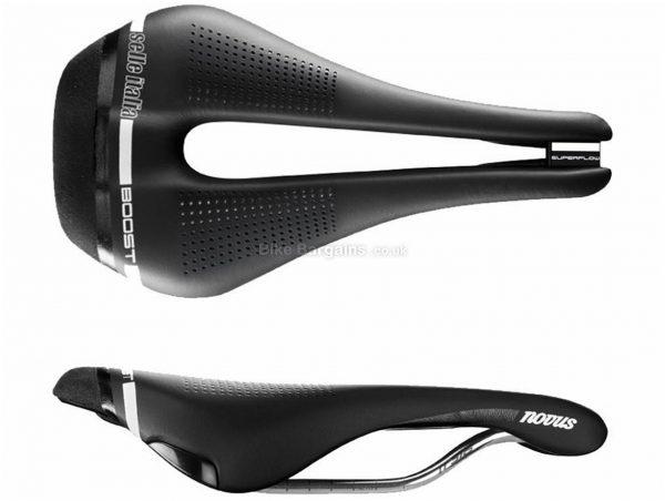 Selle Italia Novus Boost Superflow Ti Road Saddle S, Black, 135mm, 256mm, Men's Saddle, 235g, Titanium