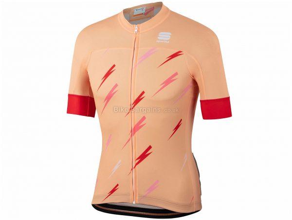 Sportful BOLT BodyFit Team Short Sleeve Jersey XXL, Pink, Orange, Red, Men's, Short Sleeve, Zip Closure, 3 rear pockets, Polyester, Elastane