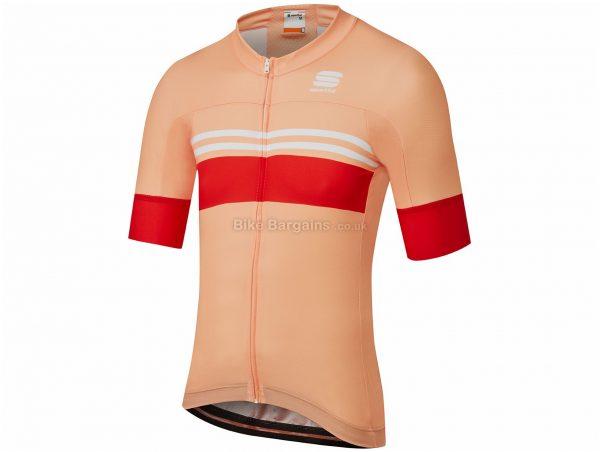 Sportful LA BodyFit Team Short Sleeve Jersey L, Pink, Red, White, Men's, Short Sleeve, Zip Closure, 3 rear pockets, Polyester, Elastane