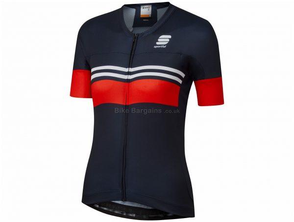 Sportful Ladies LA Diva 2 Short Sleeve Jersey L, Blue, Red, Ladies, Short Sleeve, Zip Closure, 3 rear pockets, Polyester, Elastane
