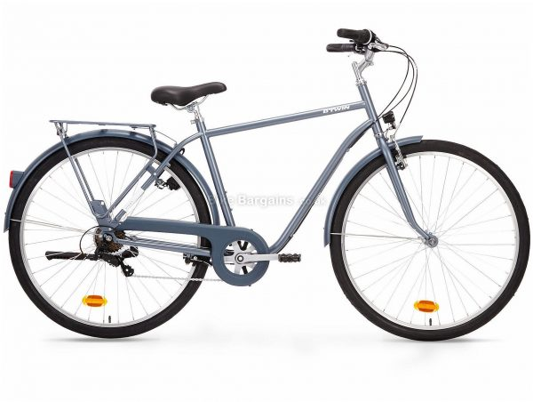 B'Twin Elops 120 High Frame Steel City Bike M, Grey, Steel Frame, 6 Speed, 700c Wheels, Single Chainring, Caliper Brakes