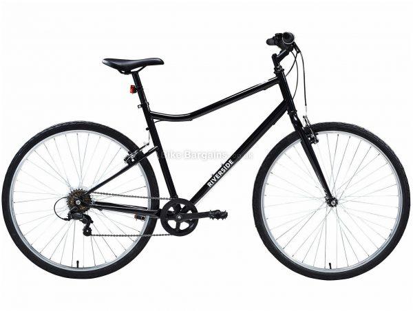 B'Twin Riverside 100 Steel City Bike M,L, Black, Steel Frame, 6 Speed, 700c Wheels, Single Chainring, Caliper Brakes