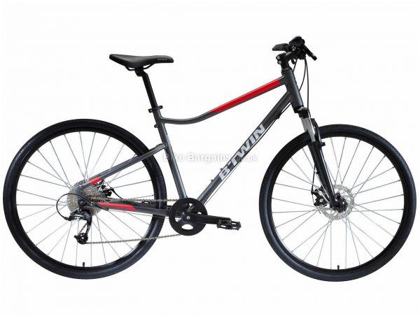 B'Twin Riverside 500 Alloy City Bike M,L, Grey, Red, Microshift Groupset, Alloy Frame, 9 Speed, 700c Wheels, Single Chainring, Disc, Hardtail