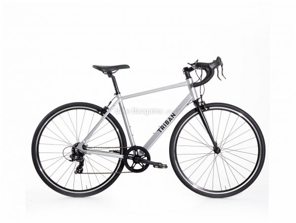 B'Twin Triban RC 100 Alloy Road Bike XS,S,M,L,XL, Silver, Black, Microshift Groupset, Alloy Frame, 7 Speed, 700c Wheels, Single Chainring, Caliper Brakes, 11.3kg