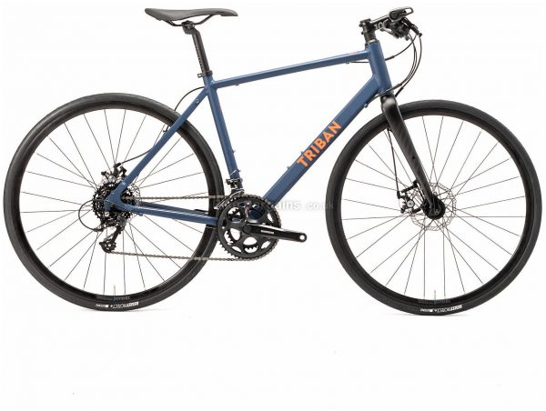 B'Twin Triban Rc 120 Flat Bar Disc Alloy Road Bike L, Blue, Black, Tourney Groupset, Alloy Frame, 16 Speed, 700c Wheels, Double Chainring, Disc, 11.25kg