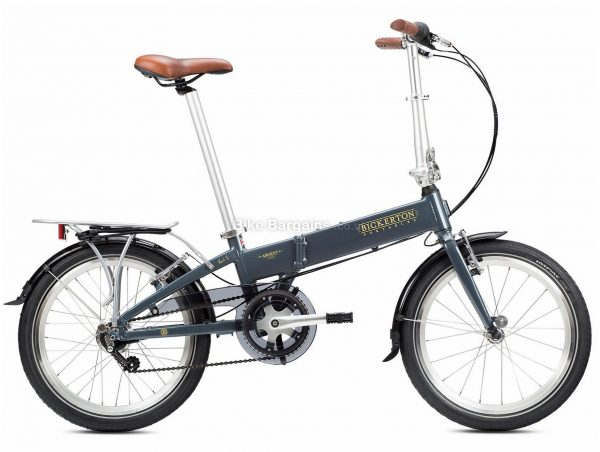 "Bickerton Argent 1707 Alloy Folding City Bike M, Grey, Green, Nexus Groupset, Alloy Frame, 7 Speed, 20"" Wheels, Single Chainring, Caliper Brakes, 14kg"