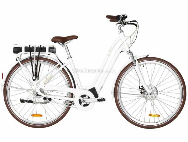B'twin Elops 920 Low Frame Alloy Electric Bike S,M,L,XL, White, Alloy Frame, 700c Wheels, 7 Speed, Disc Brakes, Hardtail, Suspension, Single Chainring