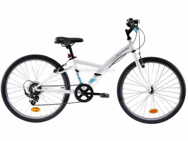 "B'twin Original 100 Steel Kids 24"" Bike M, White, Steel Frame, 24"" Wheels, 6 Speed, Caliper Brakes, Rigid, Single Chainring"