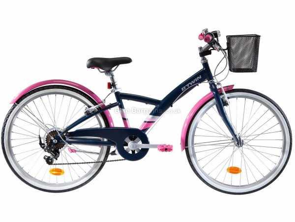 "B'twin Original 500 Steel Kids 24"" Bike M, Black, Pink, Steel Frame, 24"" Wheels, 6 Speed, Caliper Brakes, Rigid, Single Chainring"