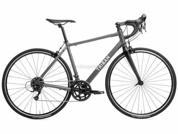 B'twin Triban Rc 120 Microshift Alloy Road Bike XL, Grey, Black, Alloy Frame, 700c Wheels, 16 Speed, Caliper Brakes, Rigid, Double Chainring