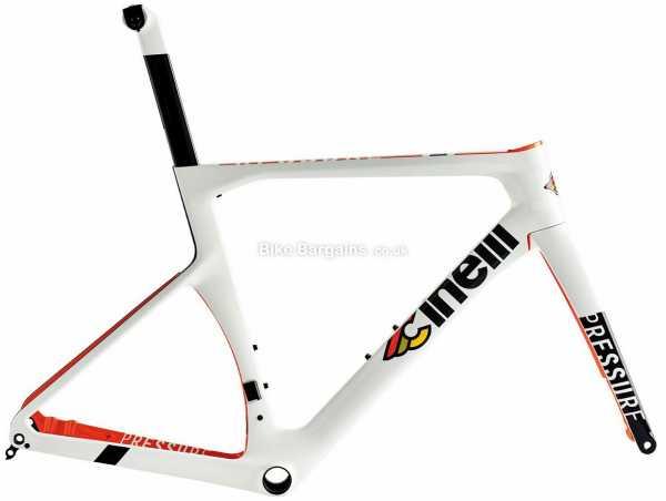 Cinelli Pressure Disc Carbon Road Frame 46cm, White, Red, 700c wheels, Carbon, 1.38kg