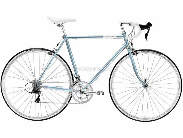 Creme Echo Solo Steel City Bike 2021 55cm, Silver, Blue, Steel Frame, 16 Speed, Sora, 700c Wheels, Caliper Brakes, Double Chainring